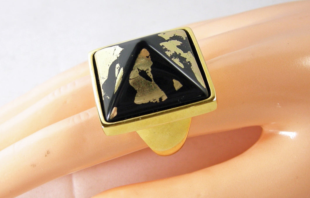 Kenneth Jay Lane Black-Gold Pyramid Ring
