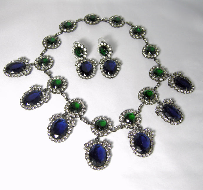 Signed Kenneth Lane Book Piece Faux Sapphire & Emerald Crystal Bib Set