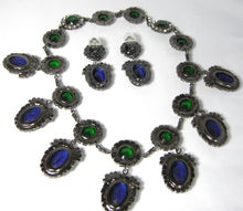 Load image into Gallery viewer, Signed Kenneth Lane Book Piece Faux Sapphire & Emerald Crystal Bib Set
