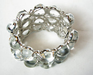 Kenneth Jay Lane Hard To Find Clear Lucite Bubble Cuff Bracelet