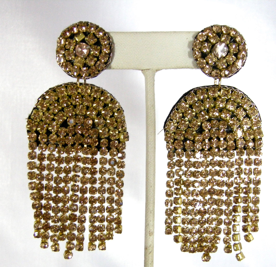 Kenneth Jay Lane Long Champagne Crystal Waterfall Dangling Pierced Earrings - JD10121