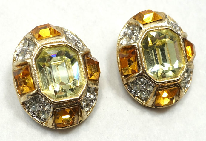 Signed Kenneth Lane Citrine, Topaz & Clear Crystal Earrings