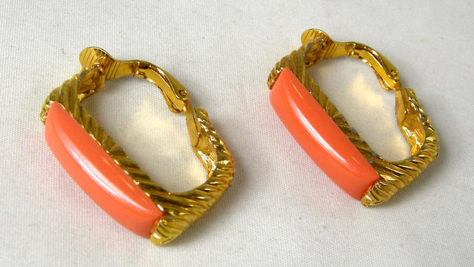 Kenneth Jay Lane Faux Coral Hoop Earrings
