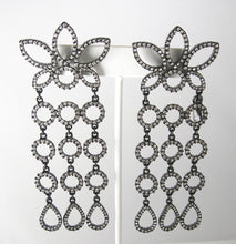 Load image into Gallery viewer, Shoulder Duster Signed Kenneth Jay Lane Rhinestone Earrings