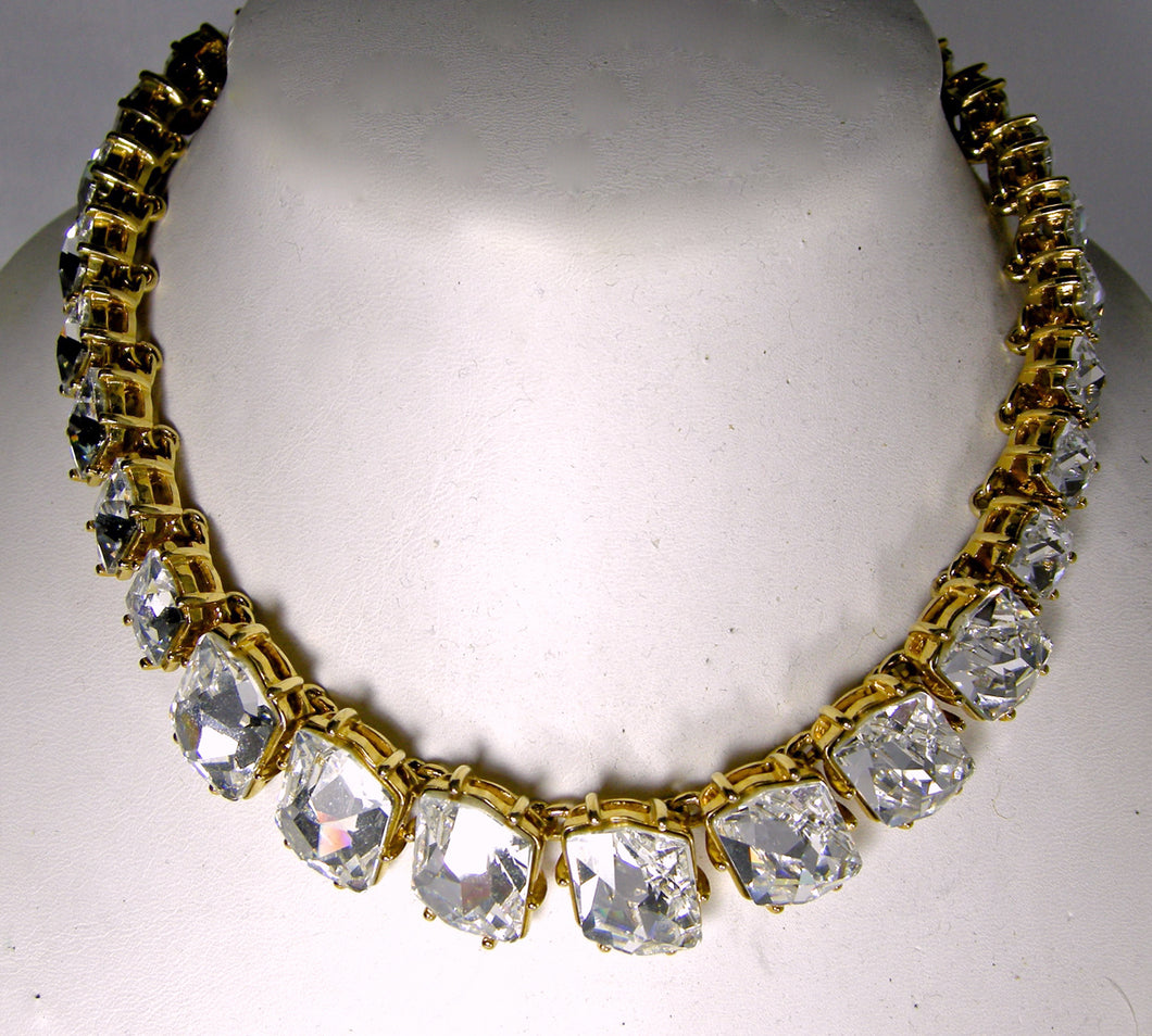 Signed Kenneth Jay Lane Sparkling Crystal Necklace - JD10183