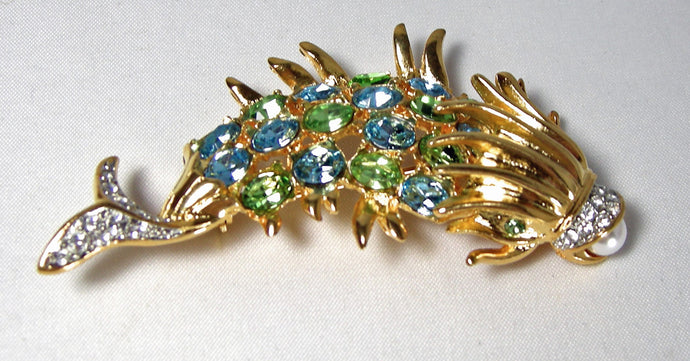 Kenneth Jay Lane Ornate Multi-Colored Fish Brooch - JD10139