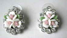 Load image into Gallery viewer, Kenneth Jay Lane White/Pink Flower Earrings