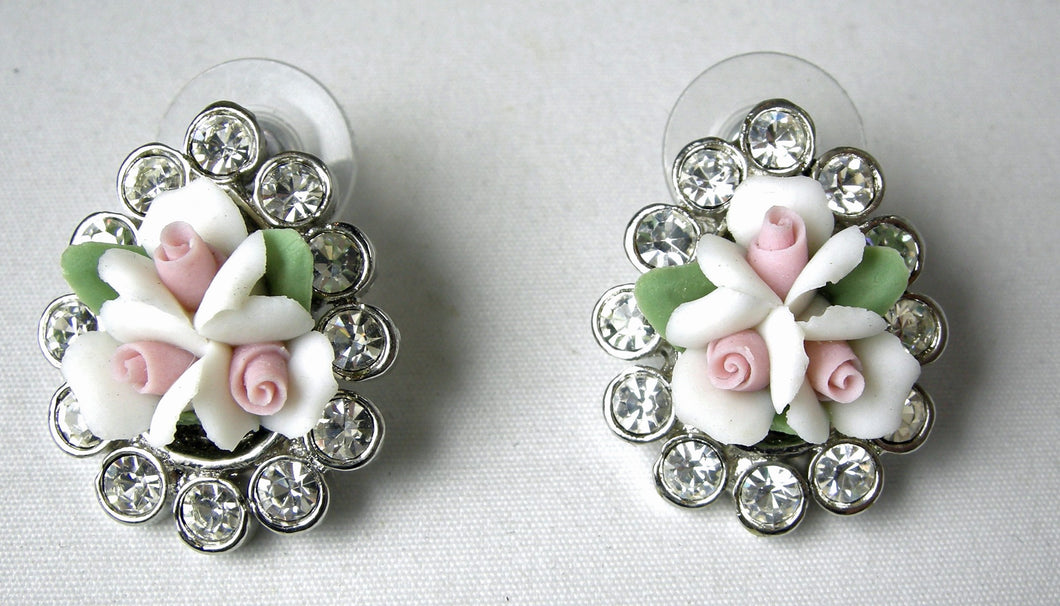 Kenneth Jay Lane White/Pink Flower Earrings