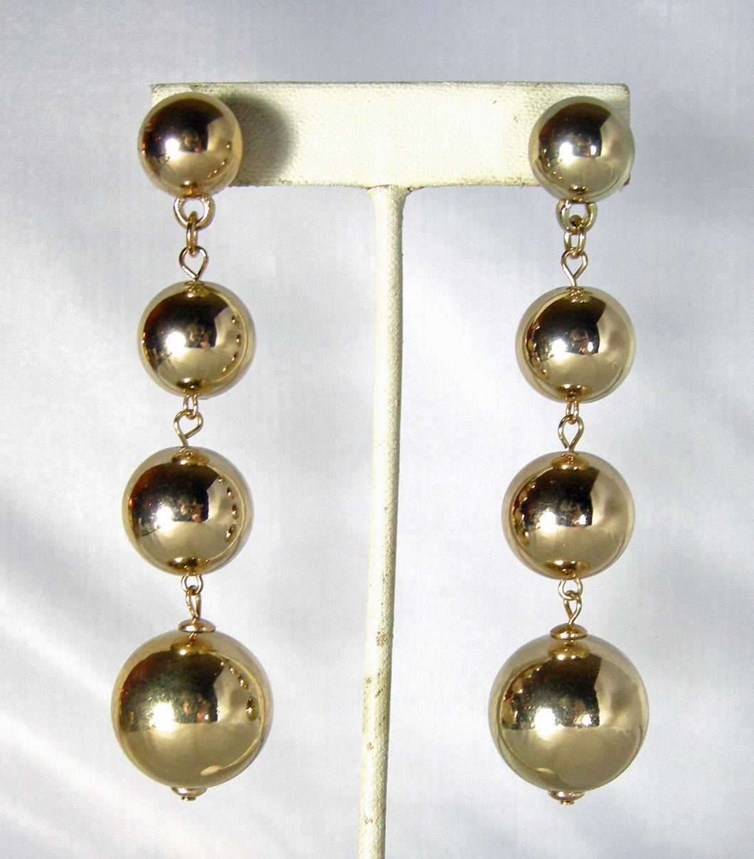 Kenneth Jay Lane Gold Tone Balls Dangling Pierced Earrings - JD10114