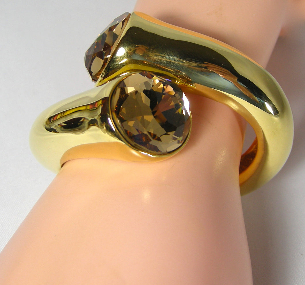 Kenneth Jay Lane Gold Hinged Clamper Bracelet - JD10123