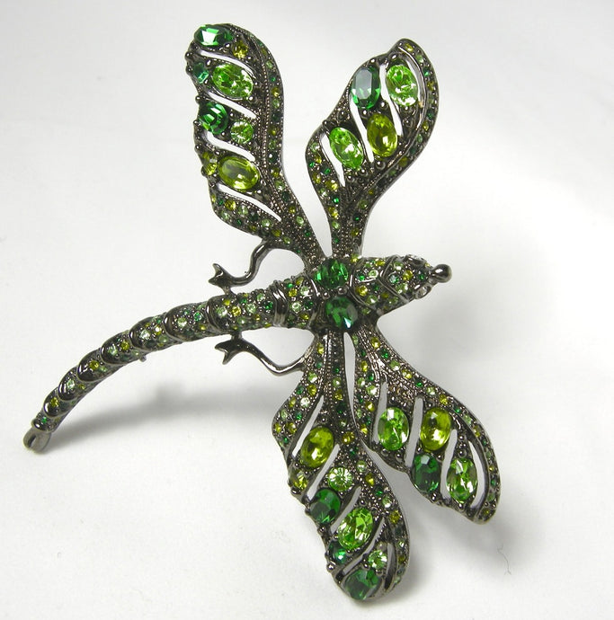 Kenneth Jay Lane Green Rhinestone Dragonfly Brooch