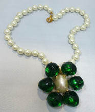 Load image into Gallery viewer, Signed Kenneth J. Lane Faux Pearl & Green Pendant Necklace