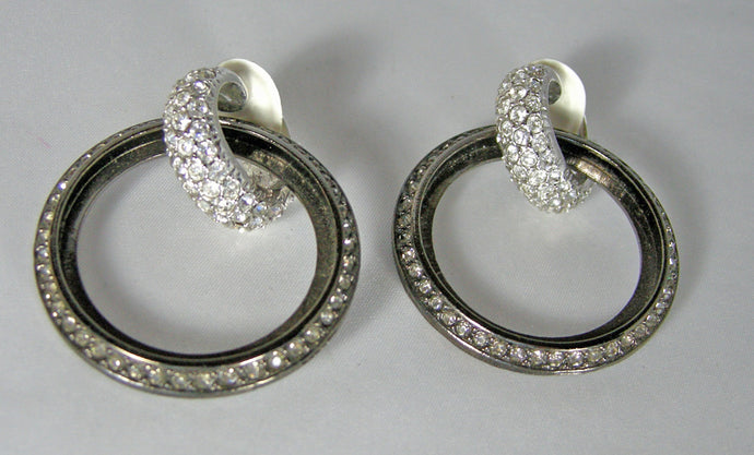 Kenneth Jay Lane Two Tone Door Knocker Crystal Hoop Earrings - JD10122