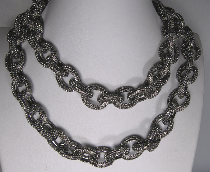 Signed Kenneth Jay Lane Pewter Link Necklace/Belt