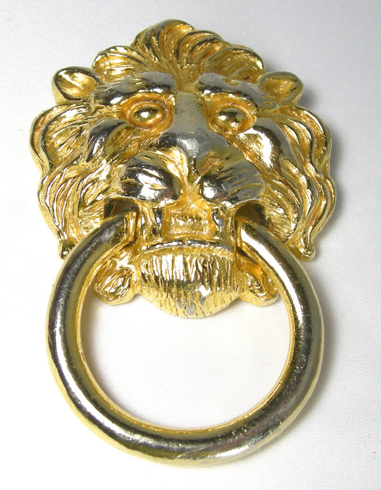Huge Signed Kenneth Lane Large Lion Door Knocker Brooch