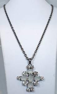 Signed Kenneth Jay Lane Crystal Maltese Cross Pendant Necklace