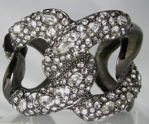 Signed KJL Intertwined Rhinestone Clamper Bracelet