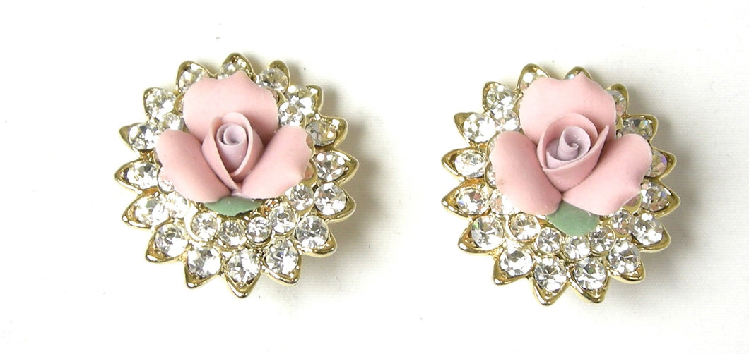 Kenneth Jay Lane Pink Flower Earrings