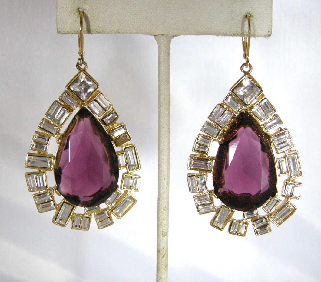 Signed Kenneth Jay Lane Faux Amethyst And Crystal Dangling Pierced Earrings