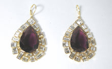 Load image into Gallery viewer, Signed Kenneth Jay Lane Faux Amethyst And Crystal Dangling Pierced Earrings