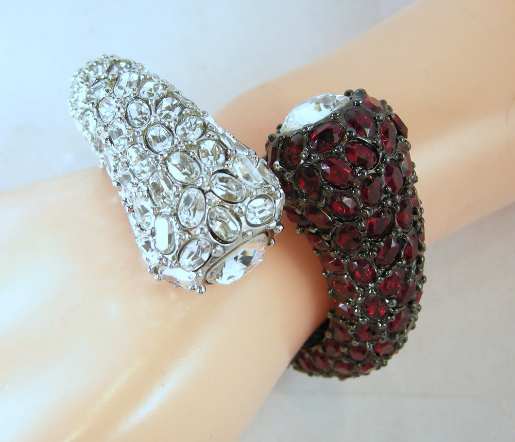 Kenneth Jay Lane Clear & Ruby Red Clamper Bracelet