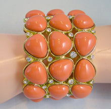 Load image into Gallery viewer, Signed Kenneth Jay Lane Chunky Faux Coral Enamel Clamper Bracelet