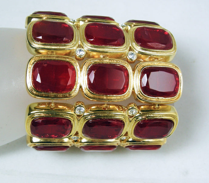 Collectible Kenneth Jay Lane Red Rhinestone Stretch Bracelet