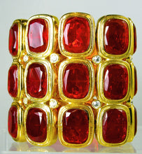 Load image into Gallery viewer, Collectible Kenneth Jay Lane Red Rhinestone Stretch Bracelet