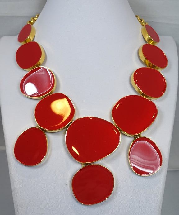 Signed Kenneth J. Lane Red Bib Necklace
