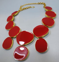 Load image into Gallery viewer, Signed Kenneth J. Lane Red Bib Necklace