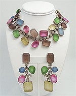 Vintage Kenneth J. Lane Rhinestone Necklace & Earrings