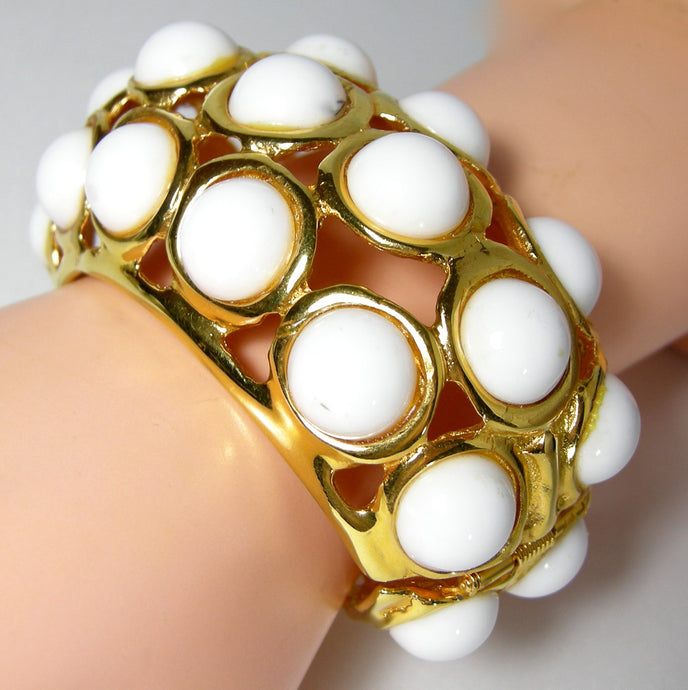 Signed Kenneth Jay Lane White Enamel Bubble Cuff Bracelet