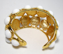 Load image into Gallery viewer, Signed Kenneth Jay Lane White Enamel Bubble Cuff Bracelet