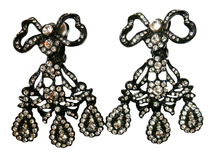 Kenneth Jay Lane Black and Clear Crystal Bows clip on earrings