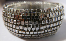 "Load image into Gallery viewer, Kenneth Jay Lane prototype"" Silver Toned Cubes Stretch Bracelet"