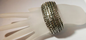 "Kenneth Jay Lane prototype"" Silver Toned Cubes Stretch Bracelet"