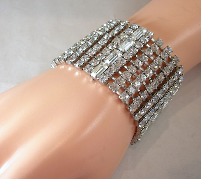 Vintage Huge Wide Crystal Bracelet