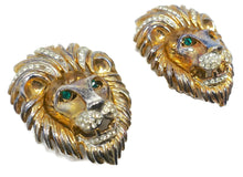 Load image into Gallery viewer, Vintage Lion's Head Green & Clear Crystal Earrings