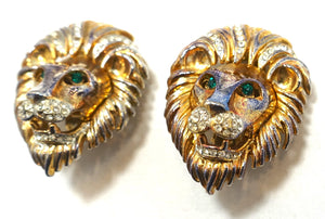 Vintage Lion's Head Green & Clear Crystal Earrings