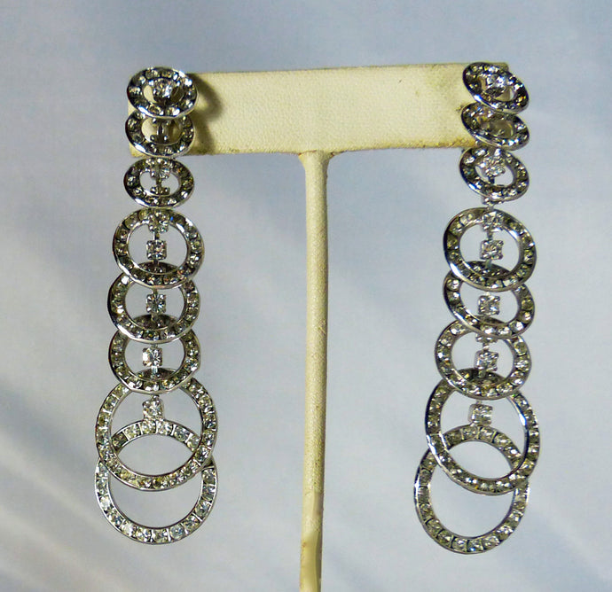 Long Dangling Circle Crystal Earrings - JD10125