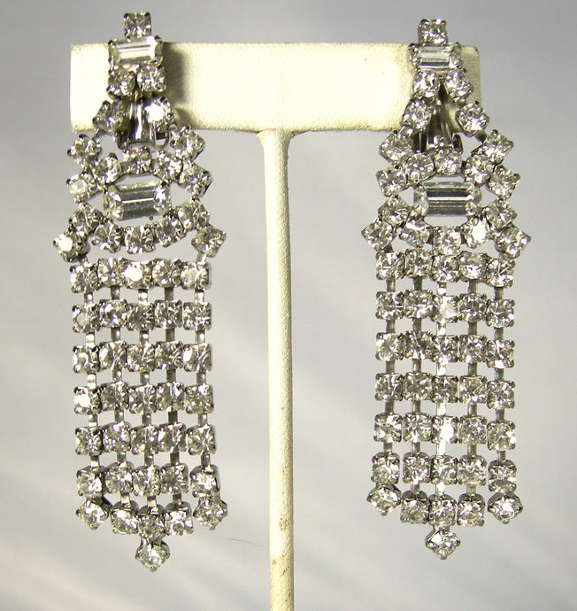 Vintage Long Rhinestone Dangling Earrings
