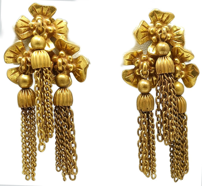 Vintage Franch Signed Lucien Piccard Clover Dangle Drop Earrings