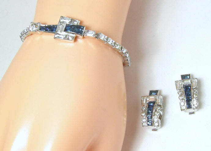 Vintage Signed Mazer Faux Sapphire & Crystal Buckle Bracelet & Earrings Set