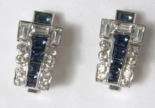 Load image into Gallery viewer, Vintage Signed Mazer Faux Sapphire & Crystal Buckle Bracelet & Earrings Set