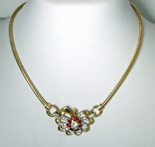 Load image into Gallery viewer, Vintage Unsigned Mazer Red & Clear Crystal Necklace