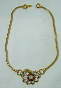 Vintage Unsigned Mazer Red & Clear Crystal Necklace