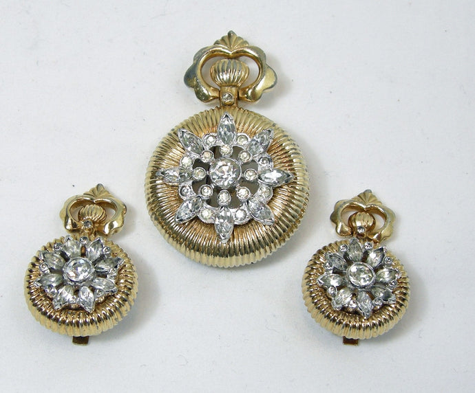 Vintage Signed Mazer Clock Design Brooch & Earrings