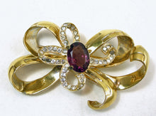 Load image into Gallery viewer, Vintage Mazer Swirl Bow Crystal Brooch