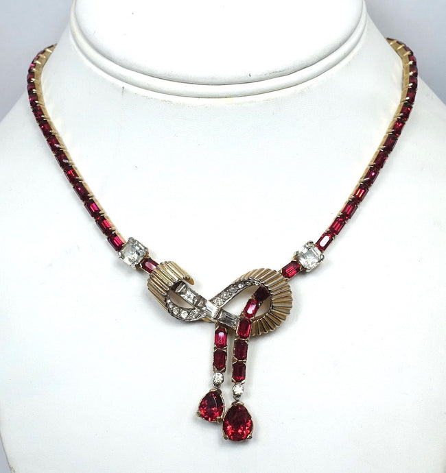 Vintage Signed Mazer Bros. Red & Clear Crystal Necklace