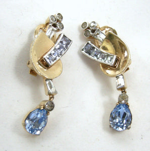Vintage Signed Mazer Bros. Crystal Bracelet & Earring Set